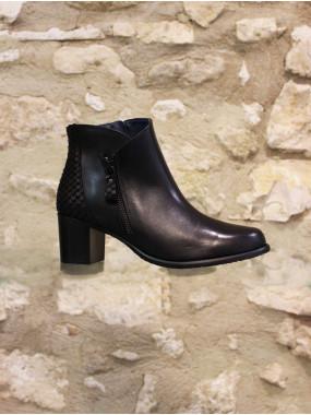 Boots en cuir noir