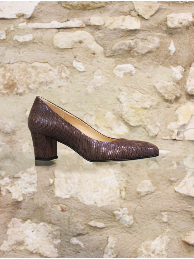 Escarpin cuir grainé