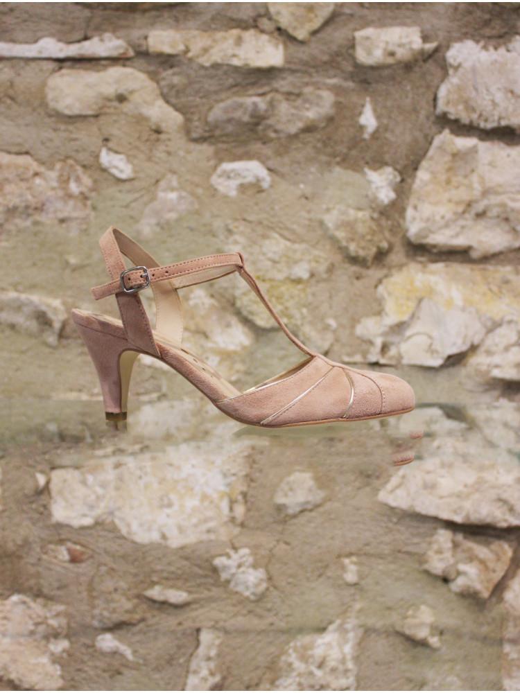 Sandale salomé à liserés dorés