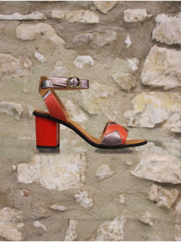 Sandale a talon multicolore