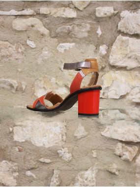 Sandale a talon multicolore