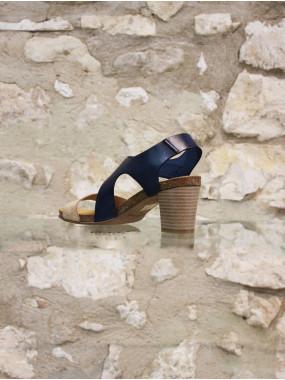 Sandales à talon marine et beige
