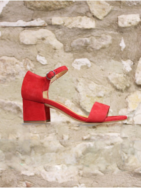 Sandale à bride en croûte de cuir framboise