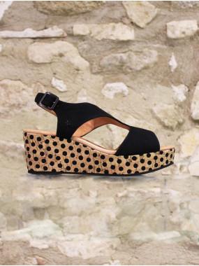 Sandale noir sur semelle liège à pois