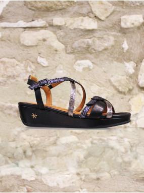 Sandale compensé en cuir multicolore