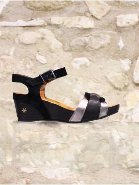 Sandales à brides noire et argenté
