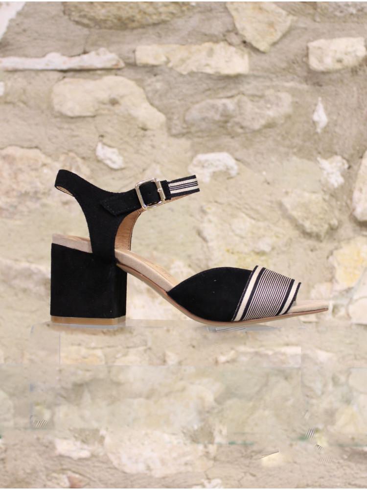 Sandale croûte de cuir et tissu
