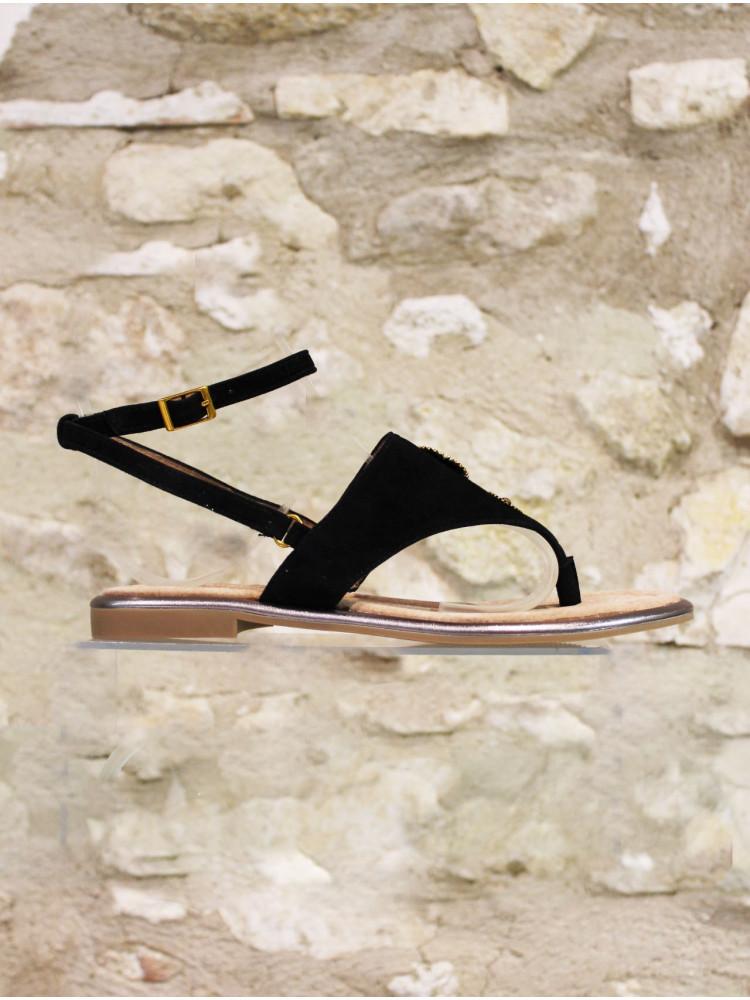Sandale entredoigts en croûte de cuir noir