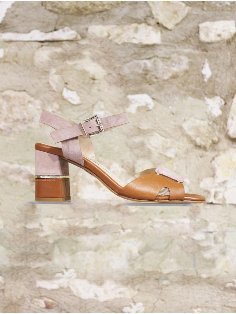 Sandale à talon bi matière