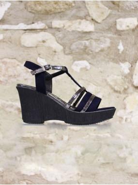 Sandale compensée marine et argentée