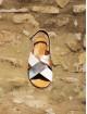 Sandale « shiny » argentée, dorée et blanche
