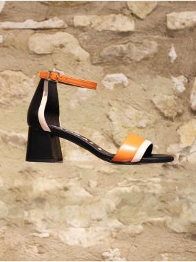 Sandale à talon multicolore
