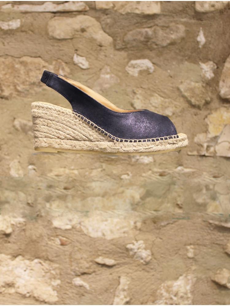 Nu-pieds en cuir bleu marine irisé sur compensé en corde