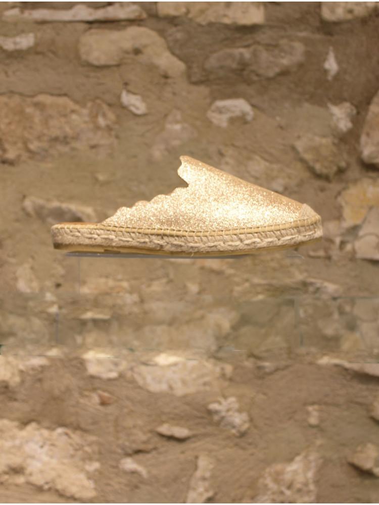 Mule cuir dorée dentelée sur corde