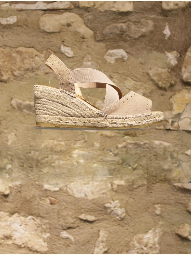 sandale compensée taupe