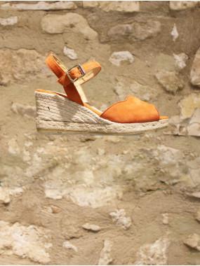 Sandales corail en croûte de cuir