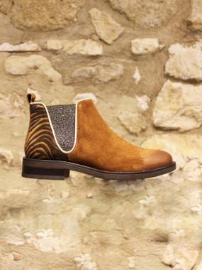 Boots croûte de cuir camel et zebre