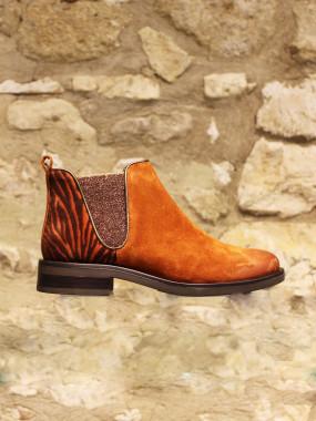 Boots croûte de cuir brique et zebre