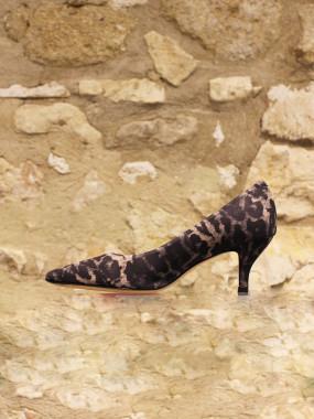 Escarpins léopard à talon « bobine »