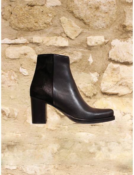 Boots cuir noir bi matière
