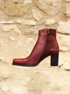 Boots cuir bordeaux bi matière