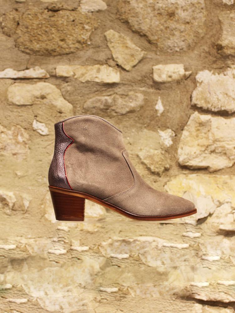 Low boot cuir velours kaki et contrefort acier