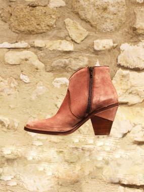 Low boots rose poudré