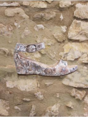 Sandale compensée multi couleur