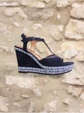 Sandale à talon compensé bleu nuit